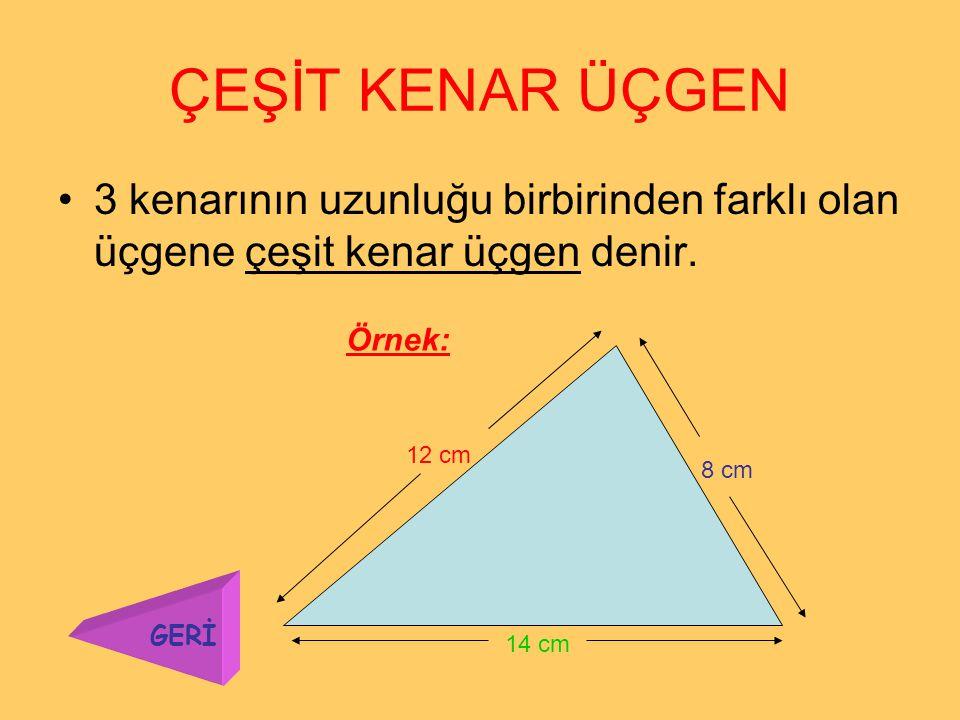İKİZKENAR ÜÇGEN 2 kenarının uzunluğu eşit olan üçgene ikizkenar üçgen denir. Örnek: 9 cm 4 cm GERİ