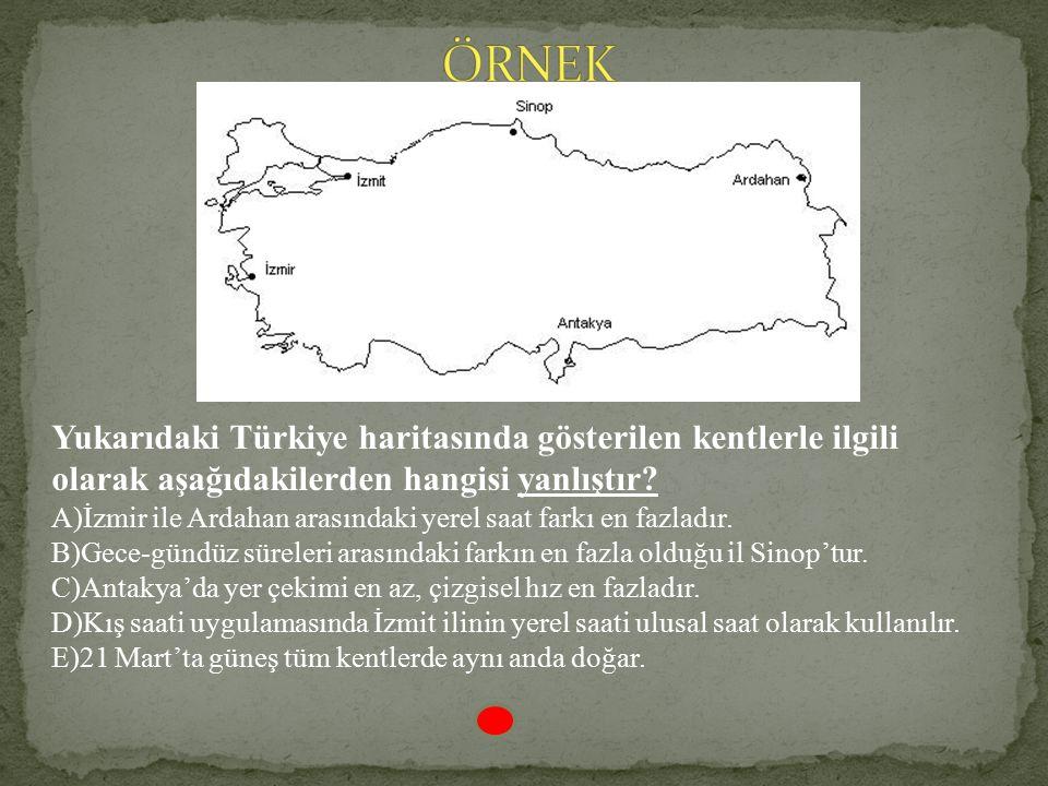 21 Haziran tarihinde en uzun gündüz: Sinop En uzun gölge boyu:Sinop 21 Haziranda en kısa gece :Sinop Çizgisel hızın en yavaş olduğu il.:Sinop Yerel sa