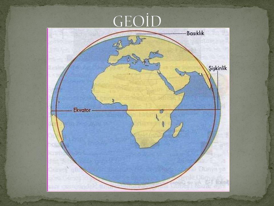 Dünyanın Şekli ve Boyutları : Dünya, Kutup Noktaları'nda basık, Ekvator'da şişkindir. Dünya'nın kendisine özgü bu şekline geoid denir. Geoide en yakın