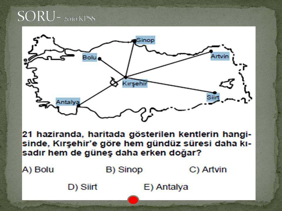 SORU- Aşağıdakilerden hangisi Türkiye'nin Kuzey Yarım Küre'de yer aldığının bir göstergesi olamaz? A) Akdeniz Bölgesi'ndeki akarsuların kuzeyden güney