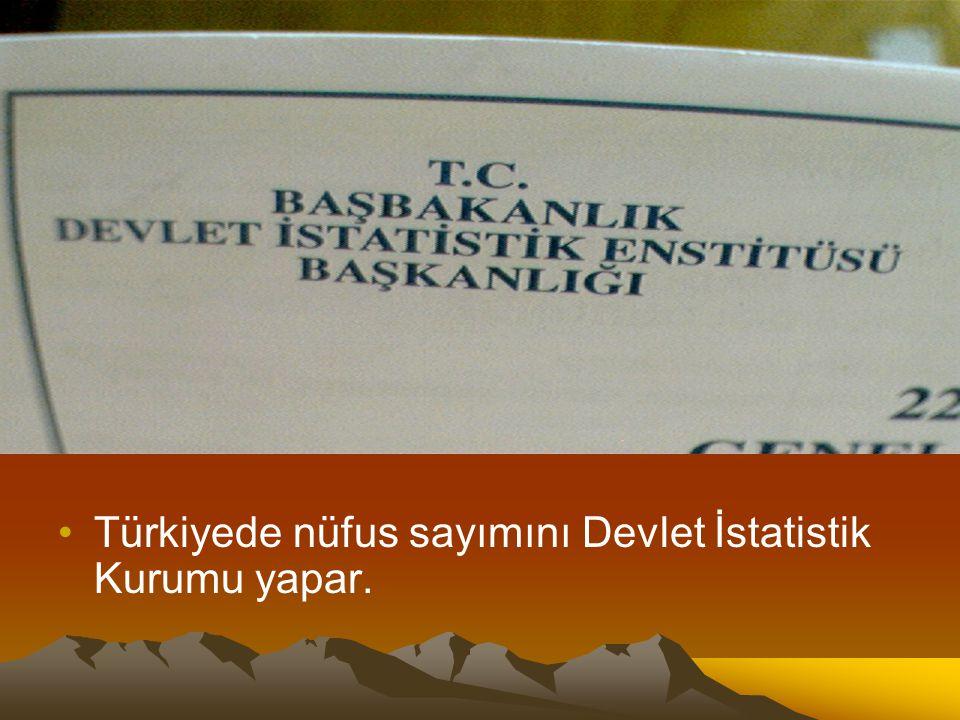 Türkiyede nüfus sayımını Devlet İstatistik Kurumu yapar.