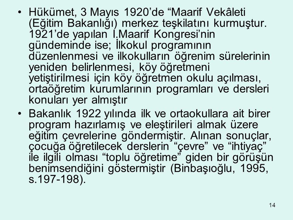 """14 Hükümet, 3 Mayıs 1920'de """"Maarif Vekâleti (Eğitim Bakanlığı) merkez teşkilatını kurmuştur. 1921'de yapılan I.Maarif Kongresi'nin gündeminde ise; İl"""