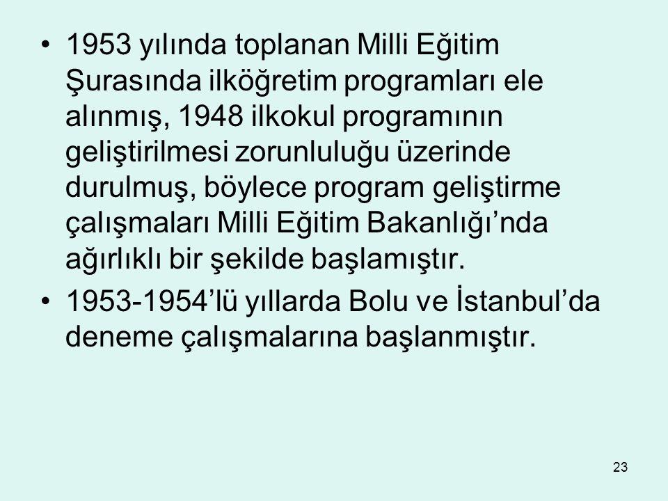 23 1953 yılında toplanan Milli Eğitim Şurasında ilköğretim programları ele alınmış, 1948 ilkokul programının geliştirilmesi zorunluluğu üzerinde durul