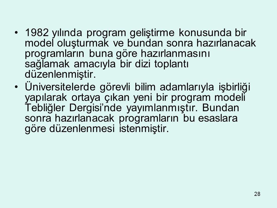 28 1982 yılında program geliştirme konusunda bir model oluşturmak ve bundan sonra hazırlanacak programların buna göre hazırlanmasını sağlamak amacıyla