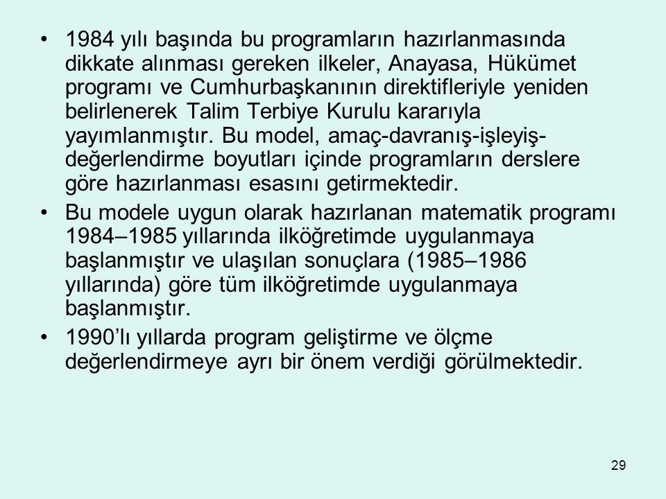 29 1984 yılı başında bu programların hazırlanmasında dikkate alınması gereken ilkeler, Anayasa, Hükümet programı ve Cumhurbaşkanının direktifleriyle y