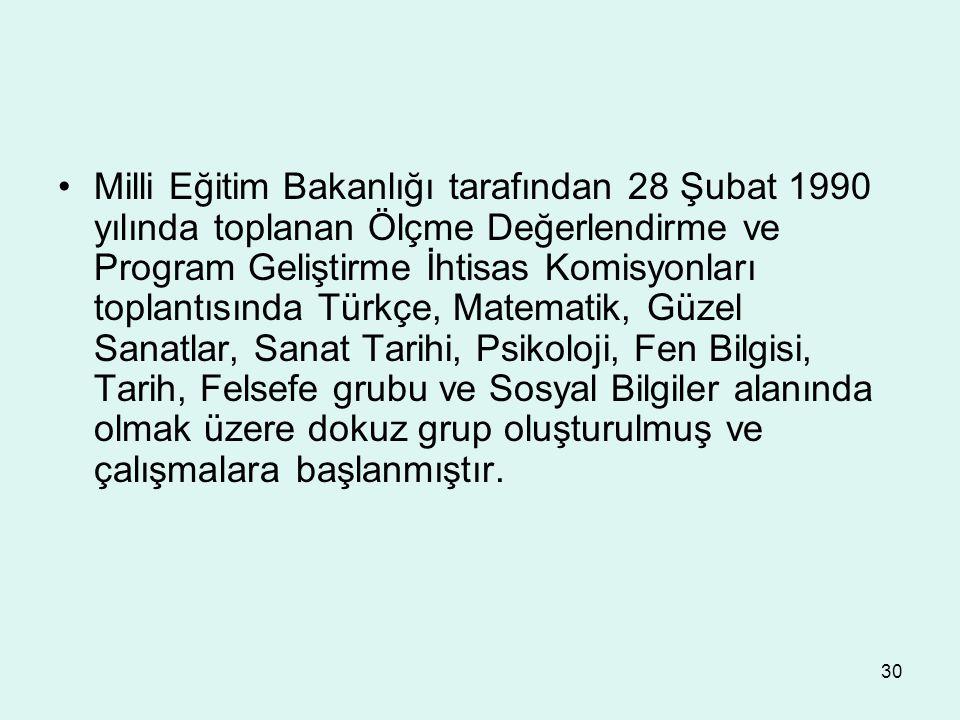 30 Milli Eğitim Bakanlığı tarafından 28 Şubat 1990 yılında toplanan Ölçme Değerlendirme ve Program Geliştirme İhtisas Komisyonları toplantısında Türkç