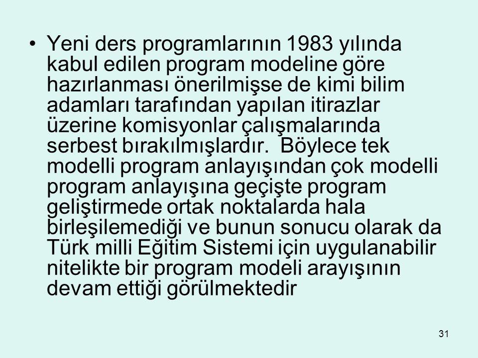 31 Yeni ders programlarının 1983 yılında kabul edilen program modeline göre hazırlanması önerilmişse de kimi bilim adamları tarafından yapılan itirazl