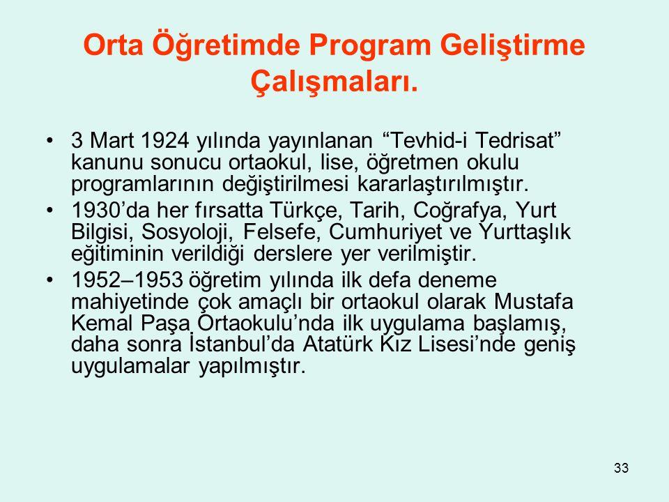 """33 Orta Öğretimde Program Geliştirme Çalışmaları. 3 Mart 1924 yılında yayınlanan """"Tevhid-i Tedrisat"""" kanunu sonucu ortaokul, lise, öğretmen okulu prog"""