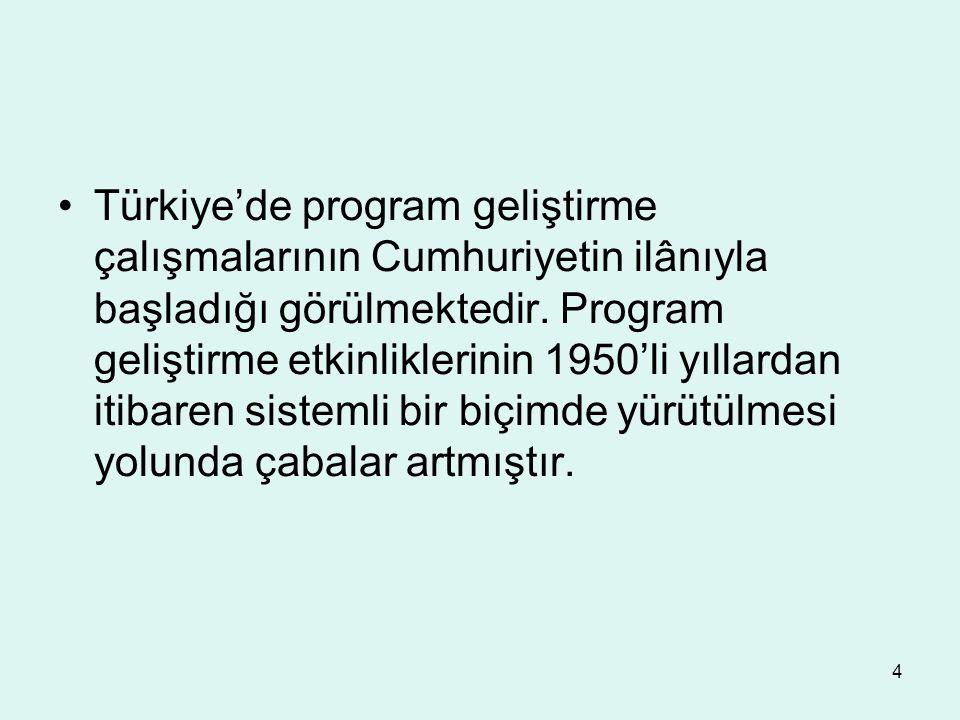 4 Türkiye'de program geliştirme çalışmalarının Cumhuriyetin ilânıyla başladığı görülmektedir. Program geliştirme etkinliklerinin 1950'li yıllardan iti