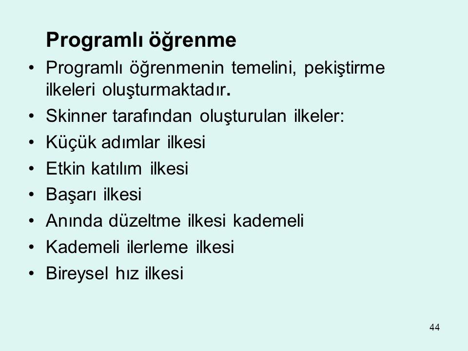 44 Programlı öğrenme Programlı öğrenmenin temelini, pekiştirme ilkeleri oluşturmaktadır. Skinner tarafından oluşturulan ilkeler: Küçük adımlar ilkesi