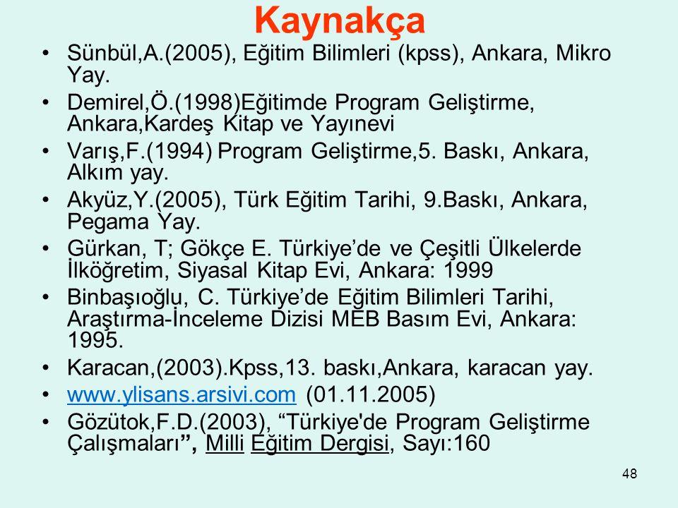 48 Kaynakça Sünbül,A.(2005), Eğitim Bilimleri (kpss), Ankara, Mikro Yay. Demirel,Ö.(1998)Eğitimde Program Geliştirme, Ankara,Kardeş Kitap ve Yayınevi