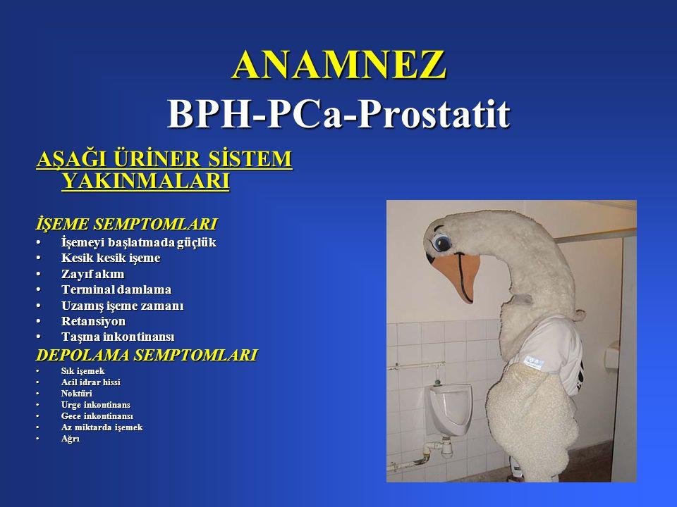 ANAMNEZ BPH-PCa-Prostatit AŞAĞI ÜRİNER SİSTEM YAKINMALARI İŞEME SEMPTOMLARI İşemeyi başlatmada güçlükİşemeyi başlatmada güçlük Kesik kesik işemeKesik kesik işeme Zayıf akımZayıf akım Terminal damlamaTerminal damlama Uzamış işeme zamanıUzamış işeme zamanı RetansiyonRetansiyon Taşma inkontinansıTaşma inkontinansı DEPOLAMA SEMPTOMLARI Sık işemekSık işemek Acil idrar hissiAcil idrar hissi NoktüriNoktüri Urge inkontinansUrge inkontinans Gece inkontinansıGece inkontinansı Az miktarda işemekAz miktarda işemek AğrıAğrı