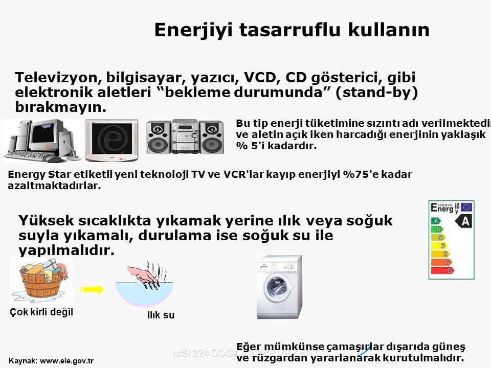 """MSI 224 DOĞA ÇEVRE VE KENT Televizyon, bilgisayar, yazıcı, VCD, CD gösterici, gibi elektronik aletleri """"bekleme durumunda"""" (stand-by) bırakmayın. Bu t"""