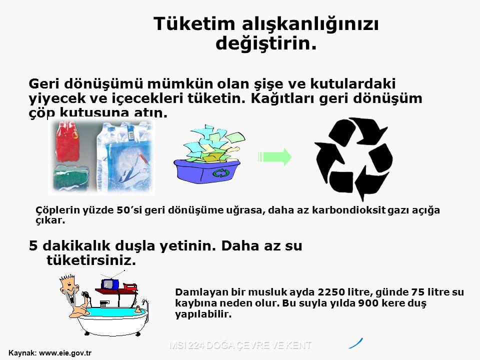 MSI 224 DOĞA ÇEVRE VE KENT Kaynak: www.eie.gov.tr Tüketim alışkanlığınızı değiştirin. Geri dönüşümü mümkün olan şişe ve kutulardaki yiyecek ve içecekl
