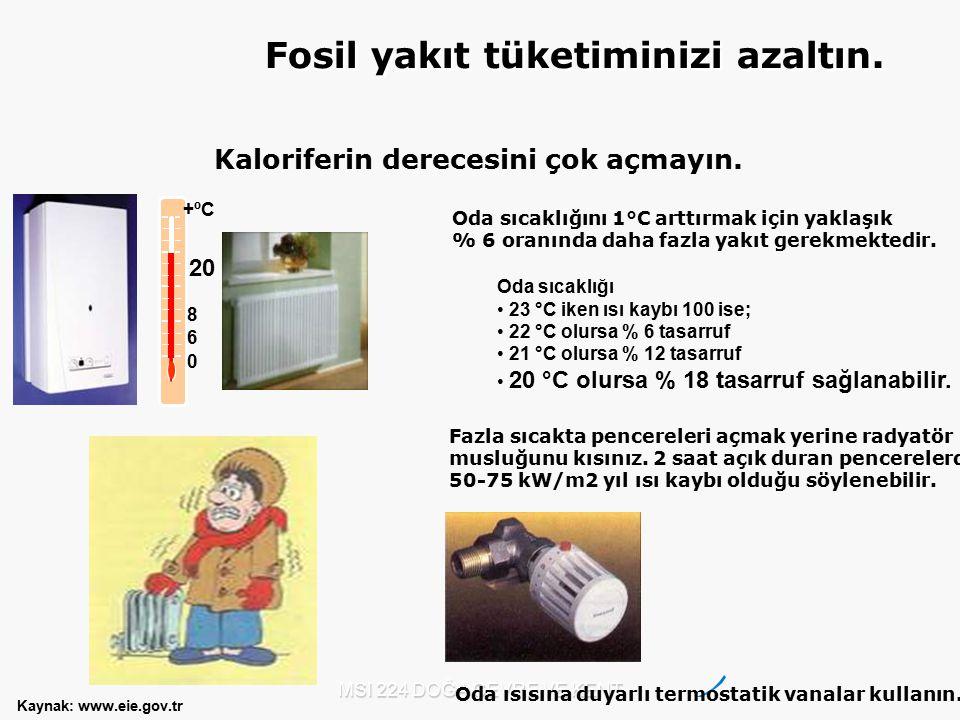 MSI 224 DOĞA ÇEVRE VE KENT Kaloriferin derecesini çok açmayın. 0 6 8 +ºC 20 Oda sıcaklığını 1°C arttırmak için yaklaşık % 6 oranında daha fazla yakıt