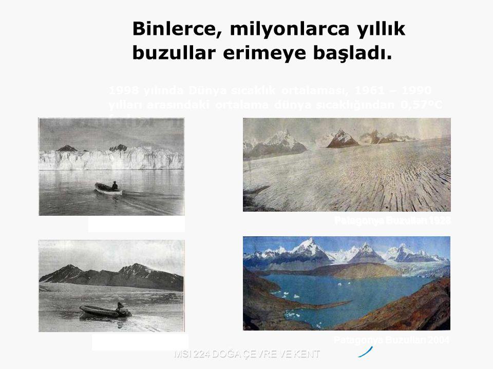 MSI 224 DOĞA ÇEVRE VE KENT Patagonya Buzulları 1928 Patagonya Buzulları 2004 Kuzey Kutbu 2002 1998 yılında Dünya sıcaklık ortalaması, 1961 – 1990 yıll