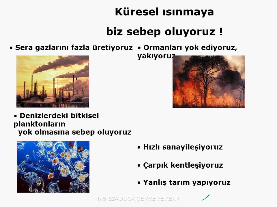 MSI 224 DOĞA ÇEVRE VE KENT Sera gazlarını fazla üretiyoruz Ormanları yok ediyoruz, yakıyoruz. Çarpık kentleşiyoruz Hızlı sanayileşiyoruz Denizlerdeki