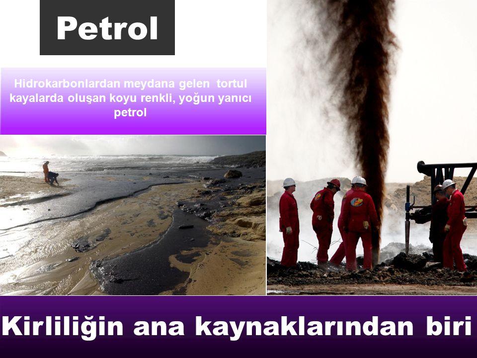 Hidrokarbonlardan meydana gelen tortul kayalarda oluşan koyu renkli, yoğun yanıcı petrol Petrol Kirliliğin ana kaynaklarından biri