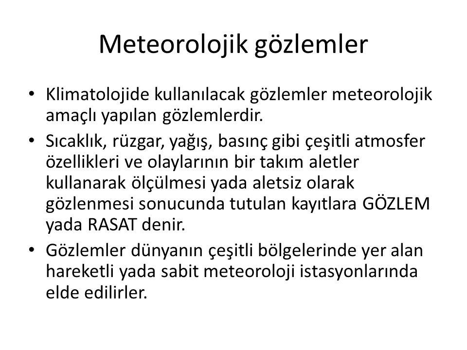 Meteorolojik gözlemler Klimatolojide kullanılacak gözlemler meteorolojik amaçlı yapılan gözlemlerdir. Sıcaklık, rüzgar, yağış, basınç gibi çeşitli atm