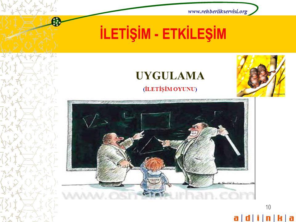10 İLETİŞİM - ETKİLEŞİM UYGULAMA (İLETİŞİM OYUNU) www.rehberlikservisi.org