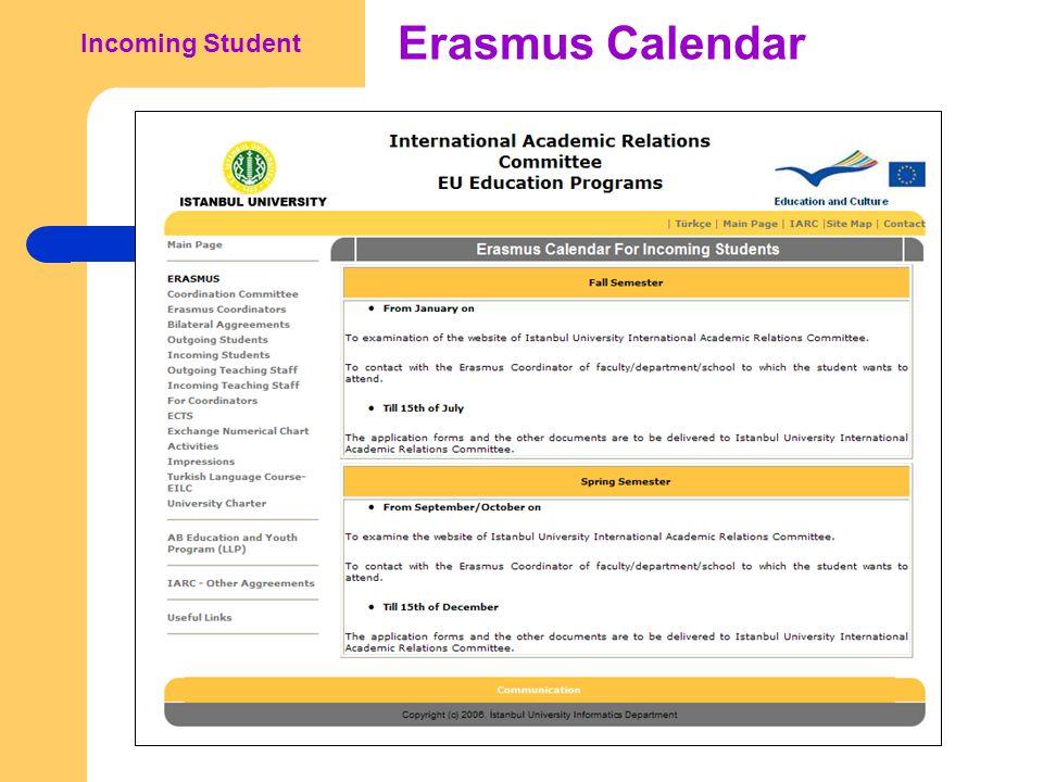 Erasmus Calendar Incoming Student