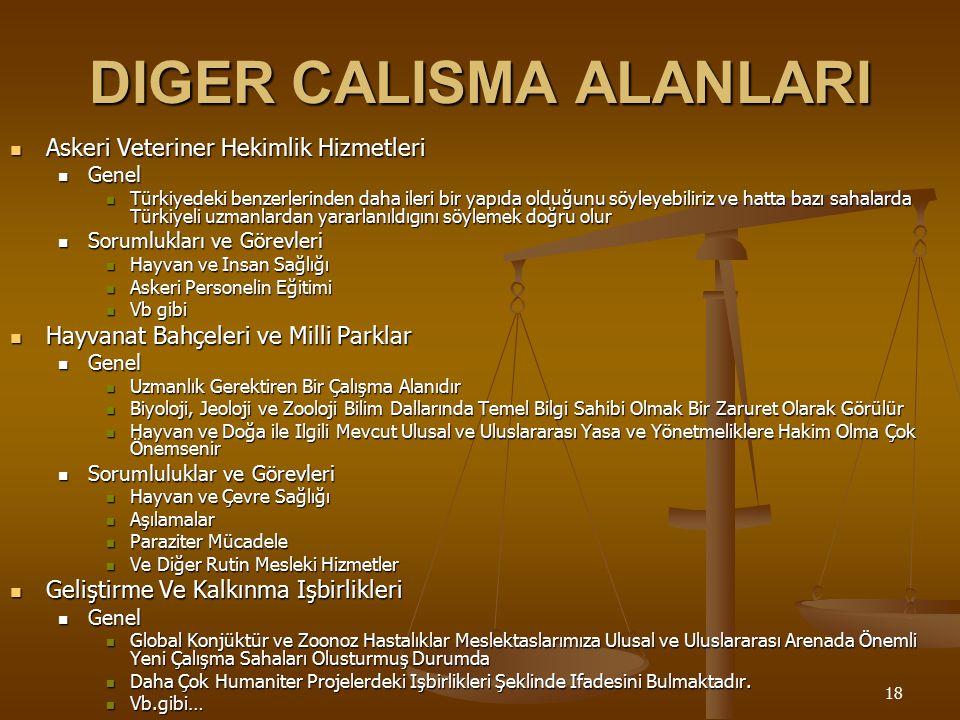 18 DIGER CALISMA ALANLARI Askeri Veteriner Hekimlik Hizmetleri Askeri Veteriner Hekimlik Hizmetleri Genel Genel Türkiyedeki benzerlerinden daha ileri