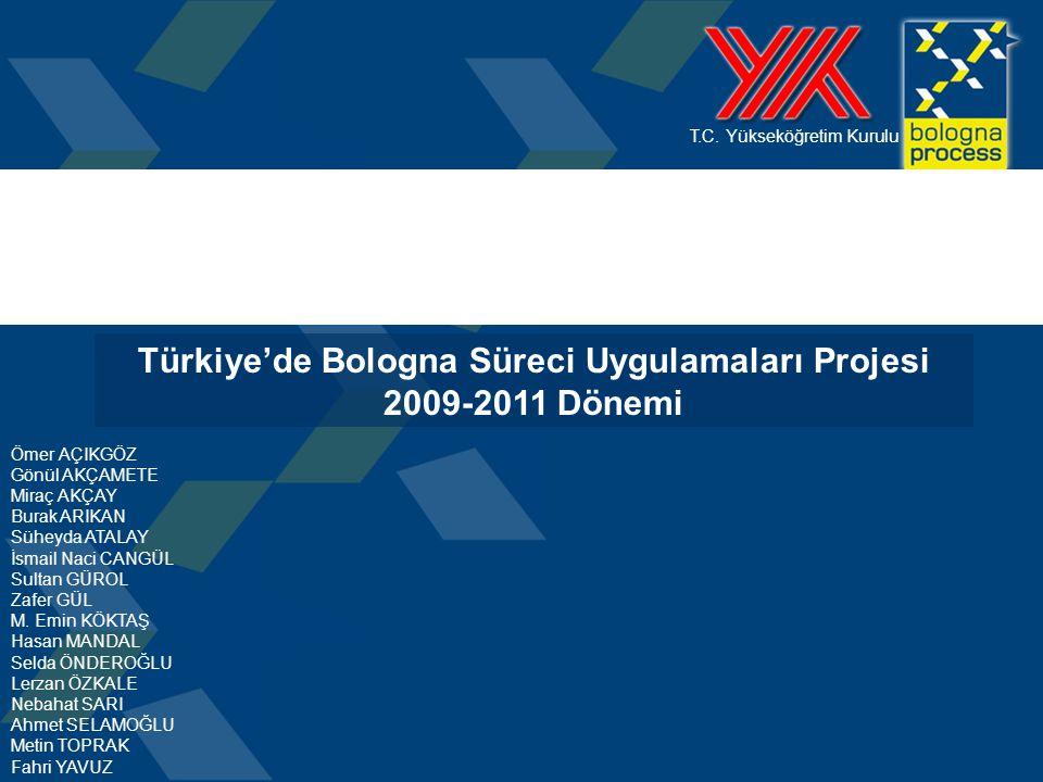 T.C. Yükseköğretim Kurulu Türkiye'de Bologna Süreci Uygulamaları Projesi 2009-2011 Dönemi Ömer AÇIKGÖZ Gönül AKÇAMETE Miraç AKÇAY Burak ARIKAN Süheyda