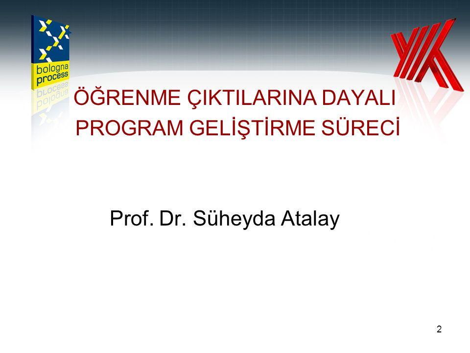 2 ÖĞRENME ÇIKTILARINA DAYALI PROGRAM GELİŞTİRME SÜRECİ Prof. Dr. Süheyda Atalay