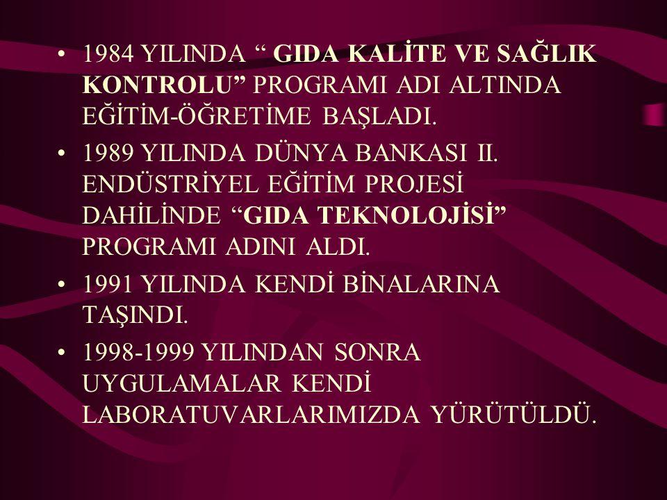 """1984 YILINDA """" GIDA KALİTE VE SAĞLIK KONTROLU"""" PROGRAMI ADI ALTINDA EĞİTİM-ÖĞRETİME BAŞLADI. 1989 YILINDA DÜNYA BANKASI II. ENDÜSTRİYEL EĞİTİM PROJESİ"""