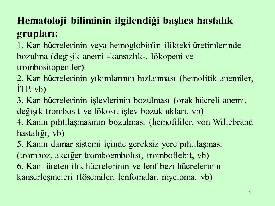 7 Hematoloji biliminin ilgilendiği başlıca hastalık grupları: 1. Kan hücrelerinin veya hemoglobin'in ilikteki üretimlerinde bozulma (değişik anemi -ka