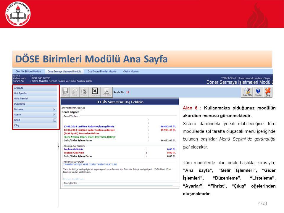 5/24 Kullanıcı Şifre Değiştirme Döner Sermaye İşletmeleri Modülü ana ekran görüntüsünde, sol menüden Ayarlar işlemi seçilir ve Kullanıcı Şifre Değiştirme kategorisi işaretlenir.