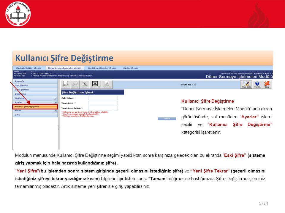 16/24 DÖSE Modülü Gelir İşlemleri Döner Sermaye İşletmeleri Modülü ana sayfasında sol menüde Gelir İşlemleri seçtiğinizde Döner Sermaye İşletmeleri – Gelir İşlemleri ekranı karşınıza gelir.