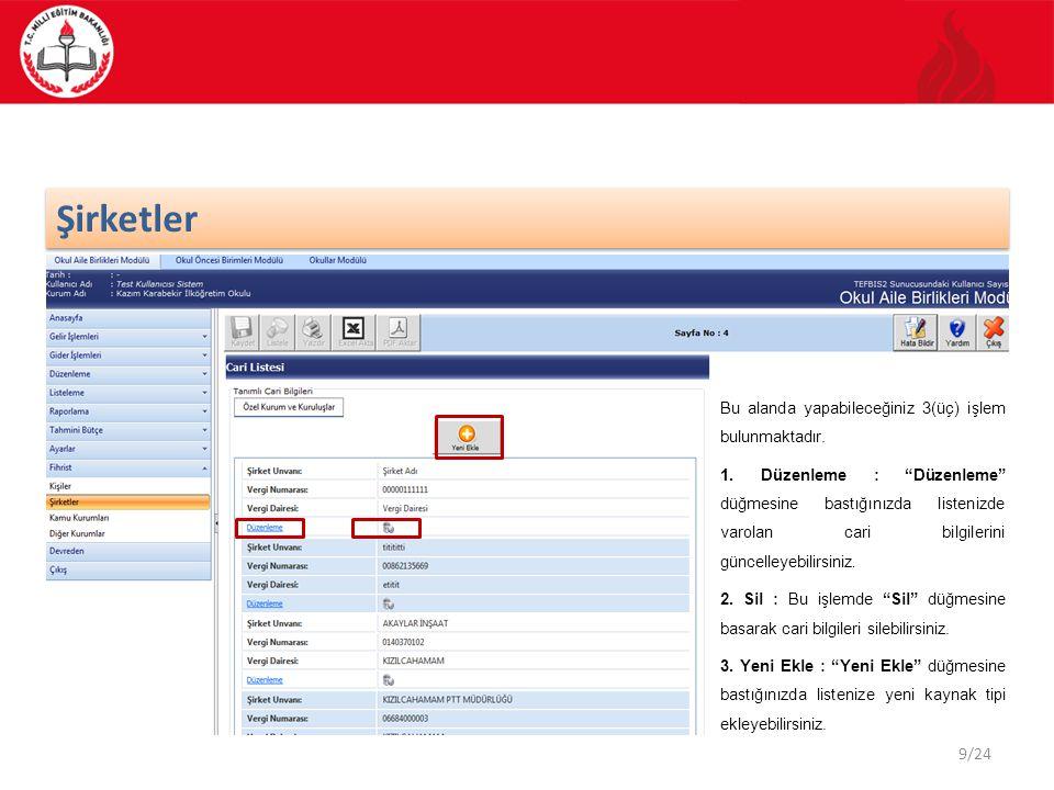 20/24 DÖSE Modülü Gelir – Gider Düzenleme Listesi Düzenleme Kullanmakta olduğunuz modülün ana ekran görüntüsünden Düzenleme işlemi seçilir.