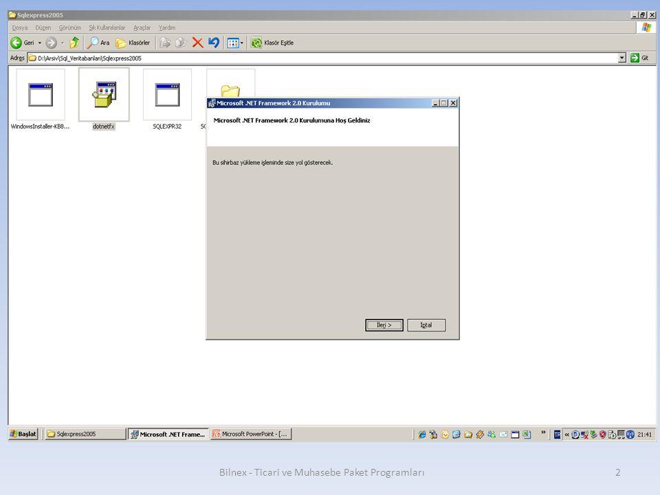 Bilnex - Ticari ve Muhasebe Paket Programları13 Hide advanced configuration options işareti kaldırılır.