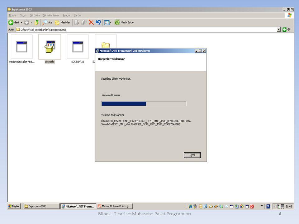 Bilnex - Ticari ve Muhasebe Paket Programları15 Default instance işaretlenir ve next tuşuna basılır.