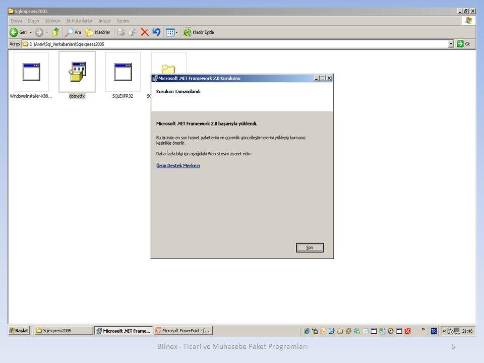 Tekrar next butonuna basılır. Bilnex - Ticari ve Muhasebe Paket Programları 26