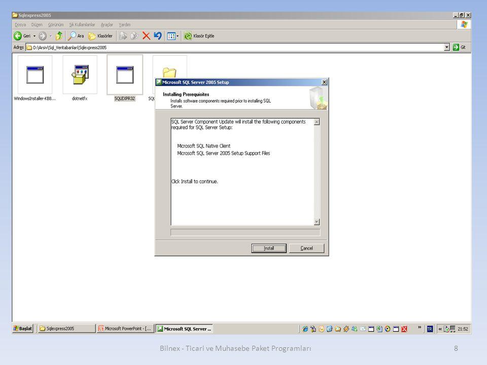 Finish butonuna basılarak kurulum sonlandırılır. Bilnex - Ticari ve Muhasebe Paket Programları29