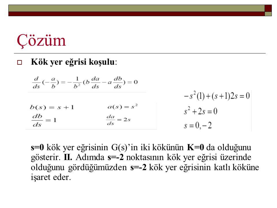 Çözüm  Kök yer eğrisi koşulu: s=0 kök yer eğrisinin G(s)'in iki kökünün K=0 da olduğunu gösterir. II. Adımda s=-2 noktasının kök yer eğrisi üzerinde