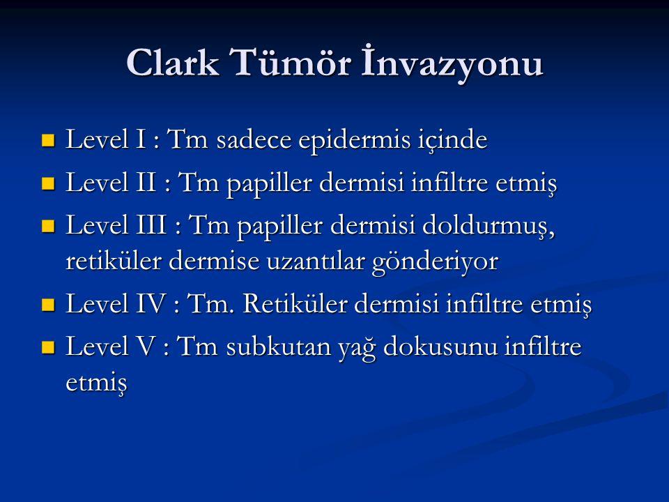 Clark Tümör İnvazyonu Level I : Tm sadece epidermis içinde Level I : Tm sadece epidermis içinde Level II : Tm papiller dermisi infiltre etmiş Level II