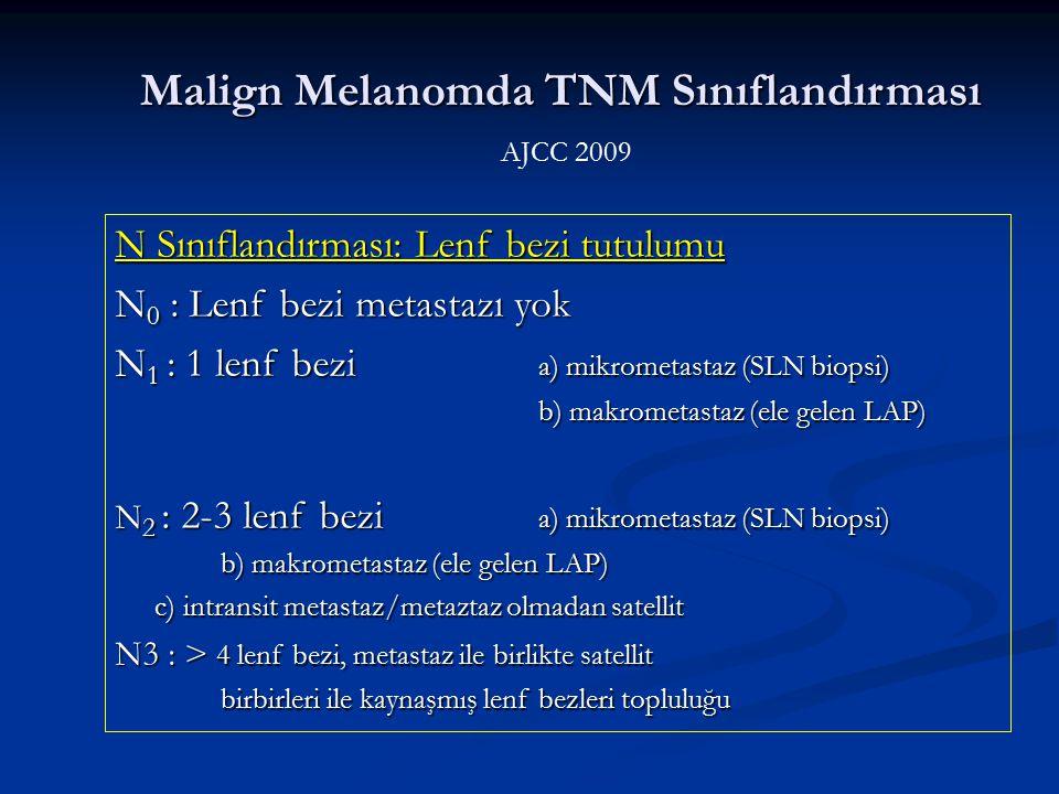 N Sınıflandırması: Lenf bezi tutulumu N 0 : Lenf bezi metastazı yok N 1 : 1 lenf bezi a) mikrometastaz (SLN biopsi) b) makrometastaz (ele gelen LAP) N