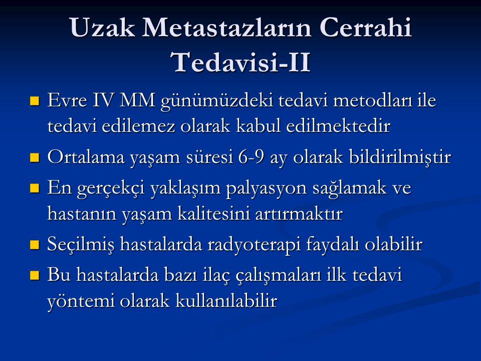 Uzak Metastazların Cerrahi Tedavisi-II Evre IV MM günümüzdeki tedavi metodları ile tedavi edilemez olarak kabul edilmektedir Evre IV MM günümüzdeki te