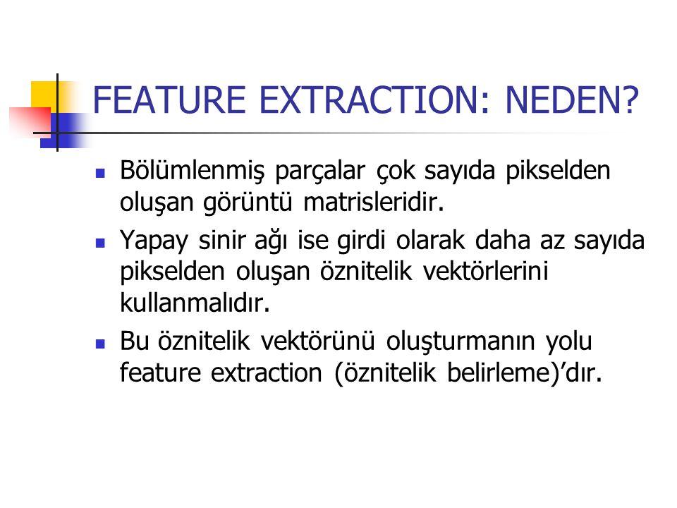 FEATURE EXTRACTION: NASIL.Öznitelikleri seçmek için belirgin bir yöntem yoktur.