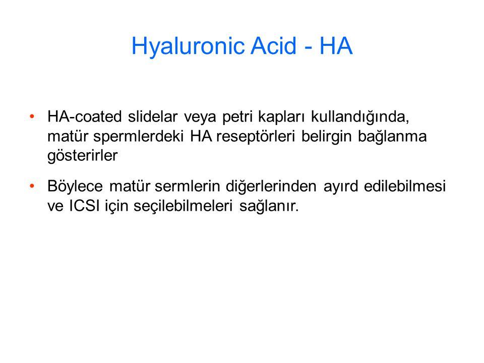 Hyaluronic Acid - HA HA-coated slidelar veya petri kapları kullandığında, matür spermlerdeki HA reseptörleri belirgin bağlanma gösterirler Böylece matür sermlerin diğerlerinden ayırd edilebilmesi ve ICSI için seçilebilmeleri sağlanır.