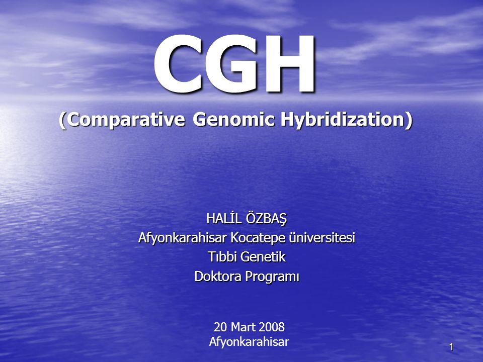İçerik Genetik tanı yöntemleri ve CGH Genetik tanı yöntemleri ve CGH CGH ın ortaya konulması CGH ın ortaya konulması CGH / Standart Multicolor FISH CGH / Standart Multicolor FISH CGH ın temeli CGH ın temeli CGH avantajları CGH avantajları CGH Aşamaları CGH Aşamaları CGH protokolü uygulamada önemli noktalar CGH protokolü uygulamada önemli noktalar Prob işaretleme Prob işaretleme Görüntü Elde etme Görüntü Elde etme CGH çalışmalarının gelişimi CGH çalışmalarının gelişimi CGH in uygulama alanları CGH in uygulama alanları Array-CGH Array-CGH 2