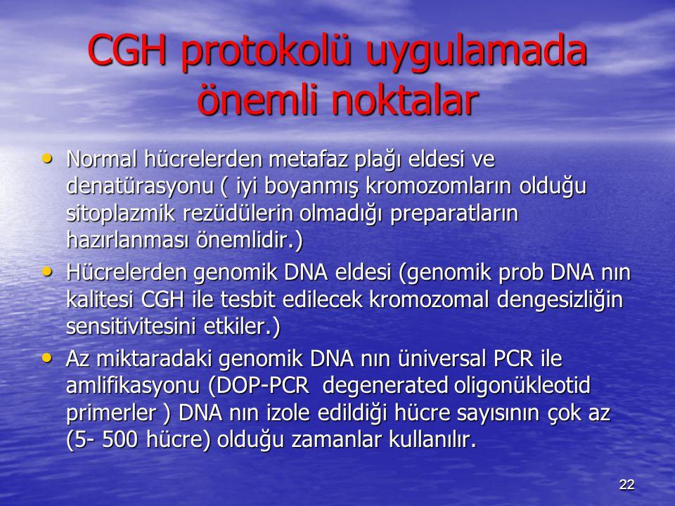 CGH protokolü uygulamada önemli noktalar Normal hücrelerden metafaz plağı eldesi ve denatürasyonu ( iyi boyanmış kromozomların olduğu sitoplazmik rezü
