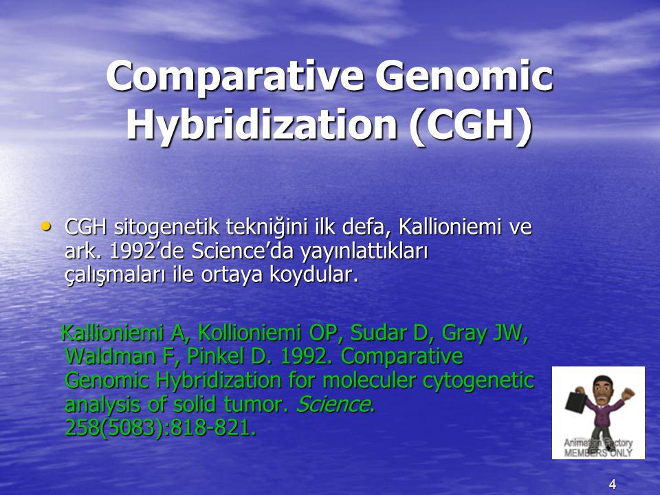 Comparative Genomic Hybridization (CGH) CGH sitogenetik tekniğini ilk defa, Kallioniemi ve ark. 1992'de Science'da yayınlattıkları çalışmaları ile ort