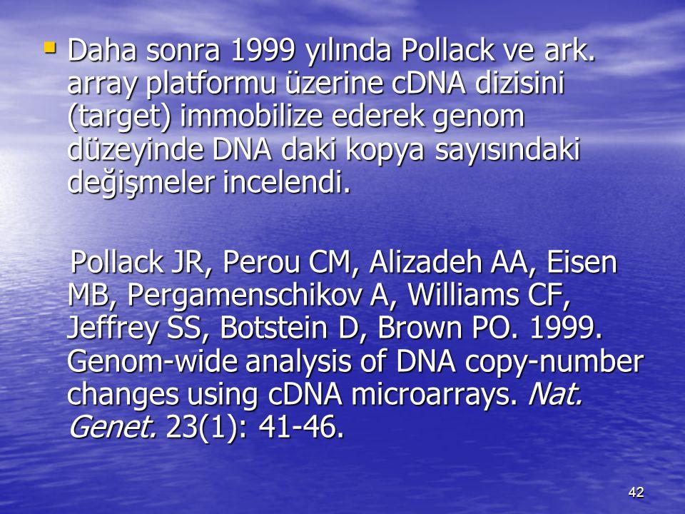  Daha sonra 1999 yılında Pollack ve ark. array platformu üzerine cDNA dizisini (target) immobilize ederek genom düzeyinde DNA daki kopya sayısındaki