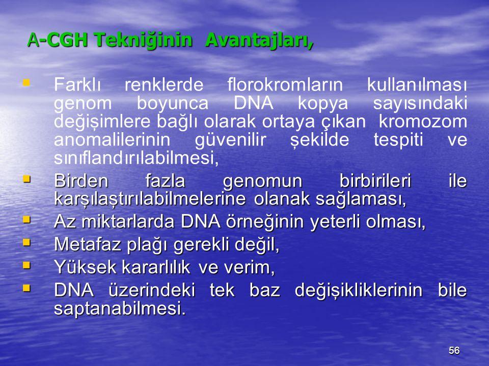 A-CGH Tekniğinin Avantajları, A-CGH Tekniğinin Avantajları,   Farklı renklerde florokromların kullanılması genom boyunca DNA kopya sayısındaki değiş