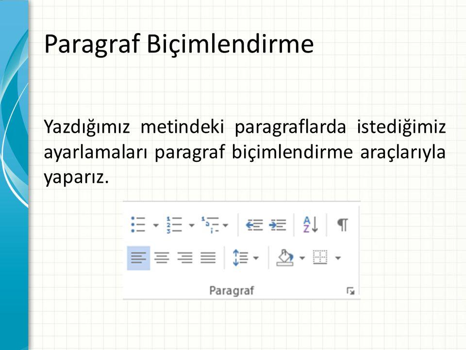 Yazdığımız metindeki paragraflarda istediğimiz ayarlamaları paragraf biçimlendirme araçlarıyla yaparız.