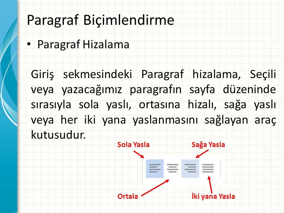 Paragraf Biçimlendirme Paragraf Hizalama Giriş sekmesindeki Paragraf hizalama, Seçili veya yazacağımız paragrafın sayfa düzeninde sırasıyla sola yaslı